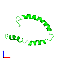 Monomeric assembly 1 of PDB entry 1o8t coloured by chemically distinct molecules and viewed from the front.