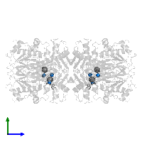 PDB 1o9t contains 6 copies of MAGNESIUM ION in assembly 1. This small molecule is highlighted and viewed from the side.