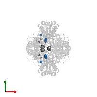 PDB 1o9t contains 6 copies of MAGNESIUM ION in assembly 1. This small molecule is highlighted and viewed from the top.