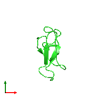 PDB 1oaw coloured by chain and viewed from the top.