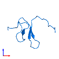 PDB 1oaw contains 1 copy of Omega-agatoxin-Aa4a in assembly 1. This protein is highlighted and viewed from the front.