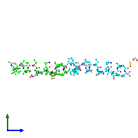PDB 1ob6 coloured by chain and viewed from the side.