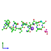 PDB 1ob7 coloured by chain and viewed from the side.
