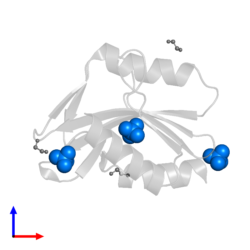 <div class='caption-body'>PDB entry 1ob8 contains 3 copies of SULFATE ION in assembly 1. This small molecule is highlighted and viewed from the front.</div>