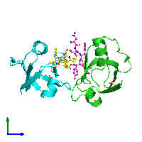 PDB 1oby coloured by chain and viewed from the side.