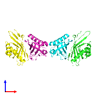 PDB 1ocv coloured by chain and viewed from the front.