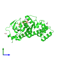 PDB 1ojr coloured by chain and viewed from the side.