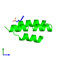 Monomeric assembly 1 of PDB entry 1oks coloured by chemically distinct molecules and viewed from the side.