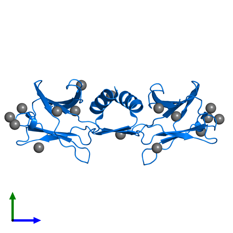 <div class='caption-body'>PDB entry 1osy contains 2 copies of IMMUNOMODULATORY PROTEIN FIP-FVE in assembly 1. This protein is highlighted and viewed from the side.</div>