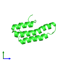 PDB 1ov2 coloured by chain and viewed from the side.