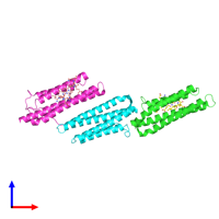 PDB 1ow8 coloured by chain and viewed from the front.