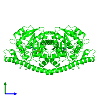 Dimeric assembly 1 of PDB entry 1oxp coloured by chemically distinct molecules and viewed from the side.