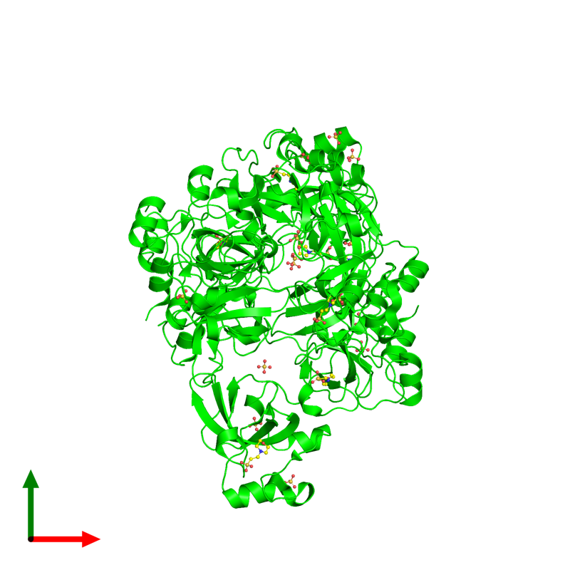 <div class='caption-body'><ul class ='image_legend_ul'>The deposited structure of PDB entry 1oyx coloured by chemically distinct molecules and viewed from the top. The entry contains: <li class ='image_legend_li'>3 copies of Lethal(3)malignant brain tumor-like protein 1</li><li class ='image_legend_li'>2 non-polymeric entities<ul class ='image_legend_ul'><li class ='image_legend_li'>14 copies of SULFATE ION</li><li class ='image_legend_li'>7 copies of 2-(N-MORPHOLINO)-ETHANESULFONIC ACID</li></ul></li></div>