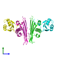 PDB 1p27 coloured by chain and viewed from the side.