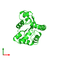 PDB 1p4s coloured by chain and viewed from the top.