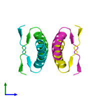 PDB 1pes coloured by chain and viewed from the side.