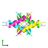 PDB 1pet coloured by chain and viewed from the side.