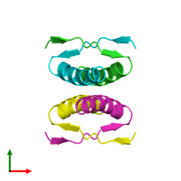 PDB 1pet coloured by chain and viewed from the top.