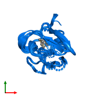 PDB 1pih contains 1 copy of High-potential iron-sulfur protein isozyme I in assembly 1. This protein is highlighted and viewed from the top.