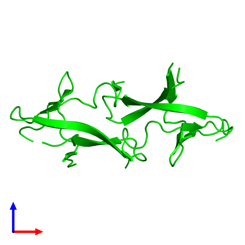 <div class='caption-body'><ul class ='image_legend_ul'> Dimeric assembly 1 of PDB entry 1pm3 coloured by chemically distinct molecules and viewed from the side. This assembly contains:<li class ='image_legend_li'>2 copies of PRC domain-containing protein</li></ul></div>