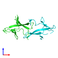 PDB 1pm3 coloured by chain and viewed from the side.