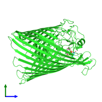 PDB 1po3 coloured by chain and viewed from the side.