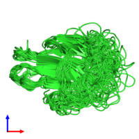 PDB 1poq coloured by chain and viewed from the side.