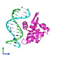 PDB 1pp7 coloured by chain and viewed from the front.
