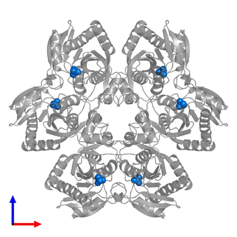 <div class='caption-body'>PDB entry 1pr0 contains 6 copies of PHOSPHATE ION in assembly 1. This small molecule is highlighted and viewed from the front.</div>