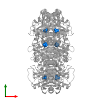 PDB 1pr0 contains 6 copies of PHOSPHATE ION in assembly 1. This small molecule is highlighted and viewed from the top.