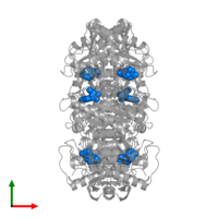 PDB 1pr0 contains 6 copies of INOSINE in assembly 1. This small molecule is highlighted and viewed from the top.