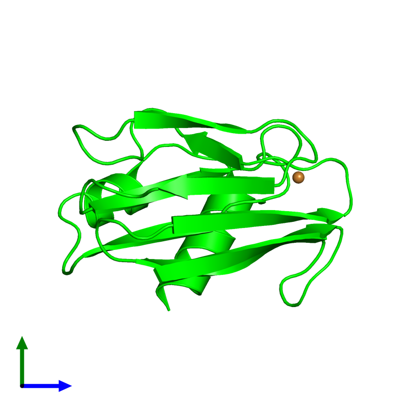 <div class='caption-body'><ul class ='image_legend_ul'>The deposited structure of PDB entry 1pza coloured by chemically distinct molecules and viewed from the side. The entry contains: <li class ='image_legend_li'>1 copy of Pseudoazurin</li><li class ='image_legend_li'>There is 1 non-polymeric molecule<ul class ='image_legend_ul'><li class ='image_legend_li'>1 copy of COPPER (II) ION</li></ul></li></div>
