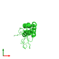 PDB 1q1v coloured by chain and viewed from the top.