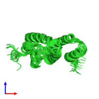 PDB 1q2z coloured by chain and viewed from the side.
