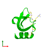 Dimeric assembly 1 of PDB entry 1q3l coloured by chemically distinct molecules and viewed from the top.