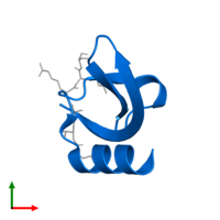 PDB 1q3l contains 1 copy of Heterochromatin protein 1 in assembly 1. This protein is highlighted and viewed from the top.