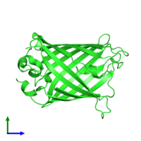 PDB 1q4b coloured by chain and viewed from the front.