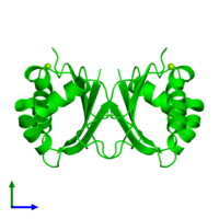 Dimeric assembly 1 of PDB entry 1q4r coloured by chemically distinct molecules and viewed from the side.