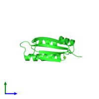 PDB 1q4r coloured by chain and viewed from the side.