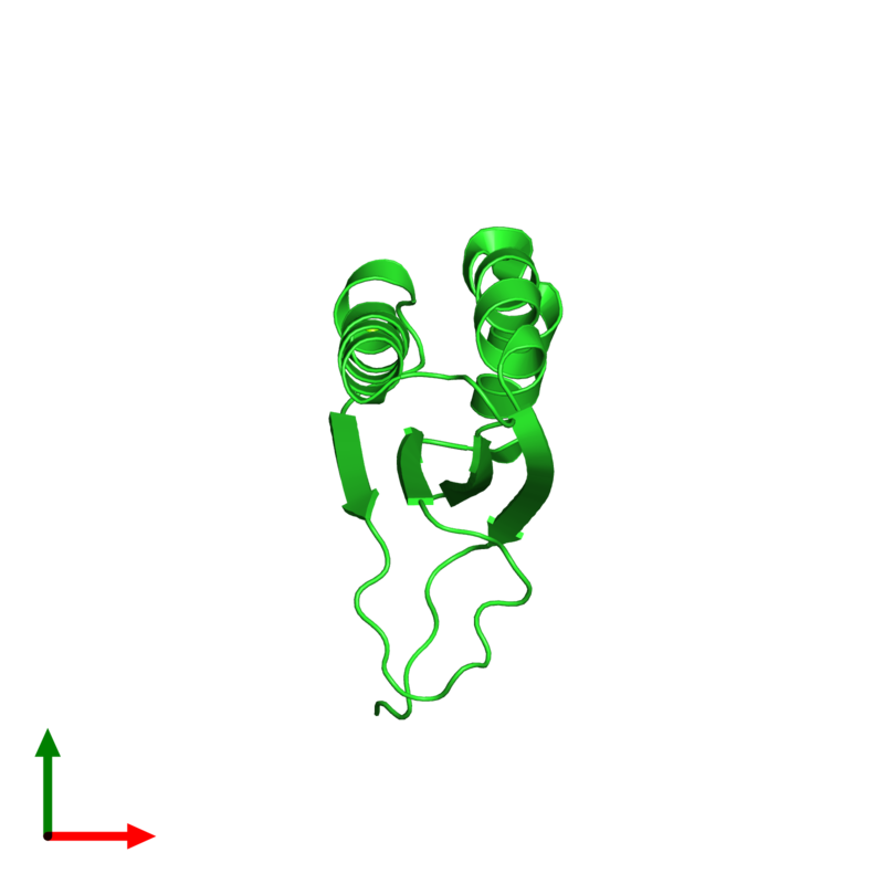 <div class='caption-body'><ul class ='image_legend_ul'>The deposited structure of PDB entry 1q4r coloured by chain and viewed from the top. The entry contains: <li class ='image_legend_li'>1 copy of Stress-response A/B barrel domain-containing protein HS1</li><li class ='image_legend_li'>There is 1 non-polymeric molecule<ul class ='image_legend_ul'><li class ='image_legend_li'>1 copy of MAGNESIUM ION</li></ul></li></div>