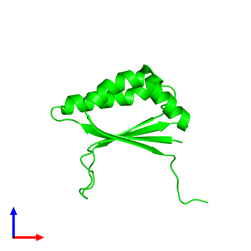 <div class='caption-body'><ul class ='image_legend_ul'>The deposited structure of PDB entry 1q4r coloured by chemically distinct molecules and viewed from the front. The entry contains: <li class ='image_legend_li'>1 copy of Stress-response A/B barrel domain-containing protein HS1</li><li class ='image_legend_li'>There is 1 non-polymeric molecule<ul class ='image_legend_ul'><li class ='image_legend_li'>1 copy of MAGNESIUM ION</li></ul></li></div>