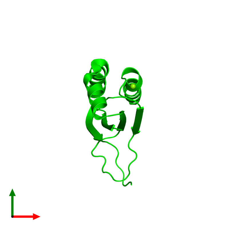 <div class='caption-body'><ul class ='image_legend_ul'>The deposited structure of PDB entry 1q4r coloured by chemically distinct molecules and viewed from the top. The entry contains: <li class ='image_legend_li'>1 copy of Stress-response A/B barrel domain-containing protein HS1</li><li class ='image_legend_li'>There is 1 non-polymeric molecule<ul class ='image_legend_ul'><li class ='image_legend_li'>1 copy of MAGNESIUM ION</li></ul></li></div>