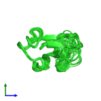 PDB 1qcv coloured by chain and viewed from the side.