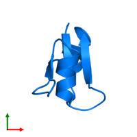 PDB 1qhk contains 1 copy of Ribonuclease H in assembly 1. This protein is highlighted and viewed from the top.