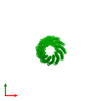39-meric assembly 1 of PDB entry 1ql2 coloured by chemically distinct molecules and viewed from the top.