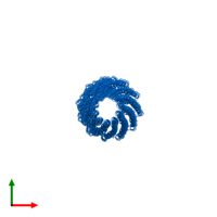 PDB 1ql2 contains 39 copies of Capsid protein G8P in assembly 1. This protein is highlighted and viewed from the top.