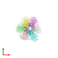 PDB 1qo1 coloured by chain and viewed from the top.