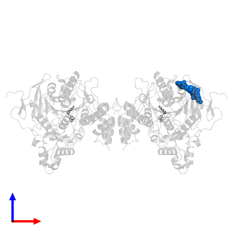<div class='caption-body'>PDB entry 1qon contains 2 copies of beta-D-mannopyranose-(1-3)-[beta-D-mannopyranose-(1-6)]beta-D-mannopyranose-(1-4)-2-acetamido-2-deoxy-beta-D-glucopyranose-(1-4)-2-acetamido-2-deoxy-beta-D-glucopyranose in assembly 1. This small molecule is highlighted and viewed from the front.</div>