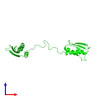 0-meric assembly 1 of PDB entry 1qu6 coloured by chemically distinct molecules and viewed from the side.