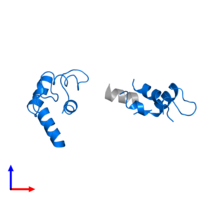 PDB 1qx7 contains 1 copy of Calmodulin-1 in assembly 3. This protein is highlighted and viewed from the side.